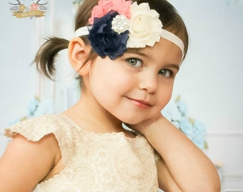 Navy, Coral, and Cream/Ivory Headband with Pearl Rhinestone Center - Flower Girl - Wedding - Baby Newborn - Photo Prop