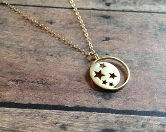 Crescent Moon & Stars Charm Necklace » 14k Gold Filled Chain