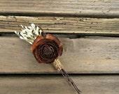Forest Glade Rose Cone Boutonniere - Cedar, Lapsana & Birch