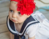 Red Flower Puff Headband - Newborn Baby Hairbow - Little Girls Hair Bow - Christmas Holiday Bright Accessories - Simple Casual Hair Piece