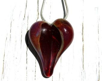 Purple Outline Heart Pendant, Borosilicate Glass Necklace, Handmade USA SRA, Lampwork Jewelry Focal bead
