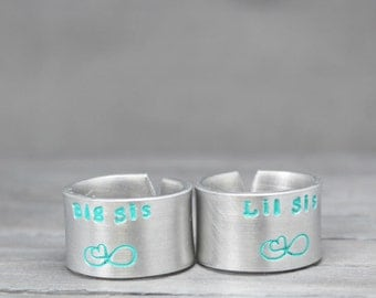 Sisters Rings, Big Sis Lil Sis Rings, Hand Stamped Rings, Sorority Jewelry, Personalized Jewelry, Hand Stamped Rings
