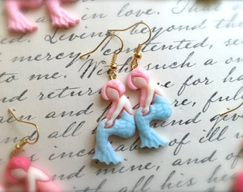 Pastel Mermaid Earrings. Dangle Earrings. Nautical. Gold. Magic. Mystical. Blue. Light Pink. You Choose. Summer. Under 10. Gifts.