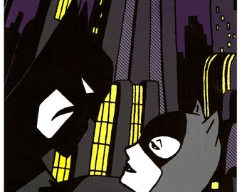 Batman Catwoman Animated handpulled silkscreen print