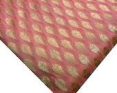 Peach and Gold Banaras Silk Fabric Half Yard- Peach Gold Leaf Pattern Indian Silk Fabric