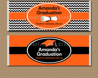 Graduation Candy Bar Wrappers - Printable Large Chocolate Bar Wrappers - Personalized Graduation Party Favors - Orange Black Candy Labels