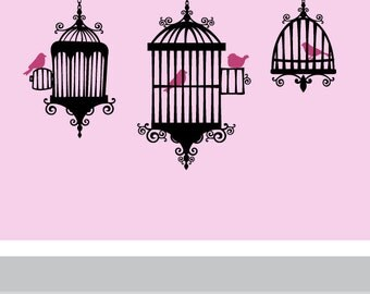 Birds in Cages Vinyl Wall Decal - Modern Art Decor - Girls - Baby - Birds - French decor Vinyl Wall Stickers - Shabby chic decor