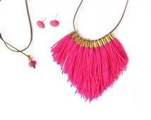 Bright Pink FRINGE Necklace silver or gold  Leather Adjustable cord  neon fluoro statement tassel FRINGE Next Romance Jewels Australia