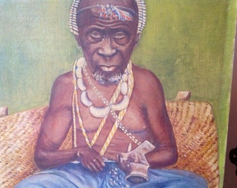 Early 20th Century French Congo Portrait, Oil on Canvas Original Painting, signed