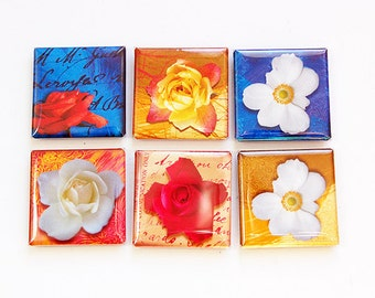 Flower Magnets, Magnet set, Magnets, Fridge Magnets, Kitchen Magnets, Square Magnets, button magnets, Bright Colors, Flowers, Floral (4590)