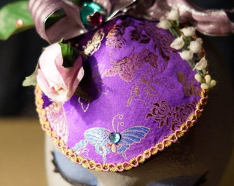 Purple Blutterfly Fascinator / Hat with rose, ribbon, and rhinestones