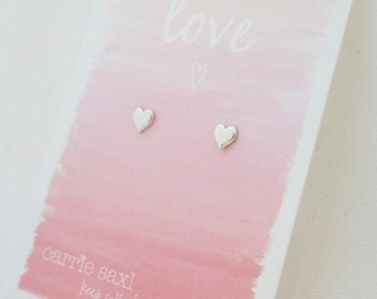 valentine earrings - silver heart stud earrings - valentine gift - heart jewelry - love jewelry - jewelry gift - limited edition