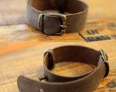 Vintage Style bracelet/ Dark brown distressed genuine cow leather bracelet