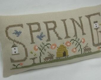 Spring Primitive Cross Stitch Mini Pillow Shelf Pillow