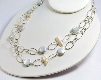 Long Chain Necklace . Silver and White Pearls