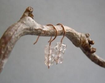 Minimalist Danburite Earrings: Hand Hammered 14K Rose Gold Filled Wire- Faceted Danburite Rondelles- Diamond Simulant- April Birthstone