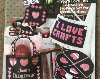 Plastic Canvas Patterns, Valentine Hearts, Tote Bag, Storage Box Scissors Case, Pin Cushion, Needle Crafters Country Decor, Leaflet 181039