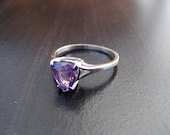 15% Off Sale.S294 Made to Order...New Sterling Silver Simple Band with 2 carat Trilliant Cut Natural Amethyst  Gemstone