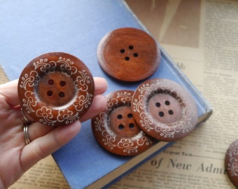 5 pcs LARGE Huge Big Cherry Wood Painted Floral Flower Vine Buttons 6cm over 2 inch (WB2313)