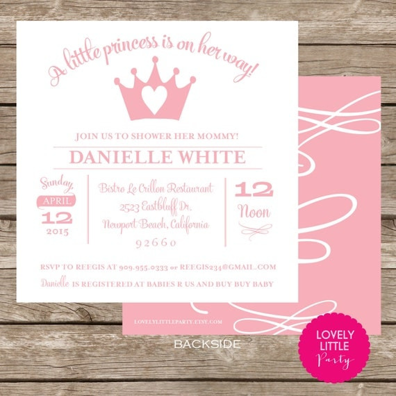 DIY Printable or Printed Princess Baby Shower Invite - Choice of color included