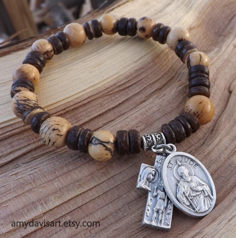Men S Brown Rosary Bracelet St Jude St Christopher