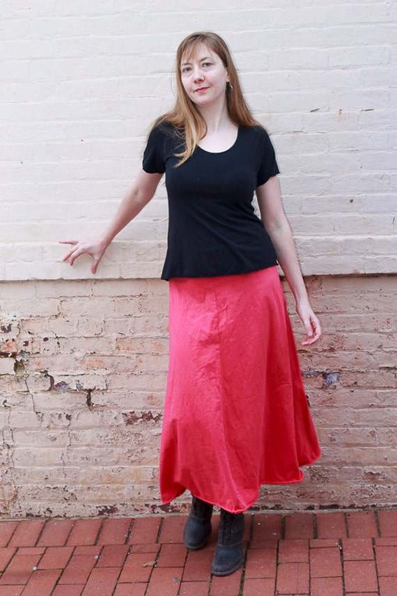 Swirl Skirt in Organic Cotton Knit, Four Panel Maxi Skirt, Eco Friendly Handmade Clothing