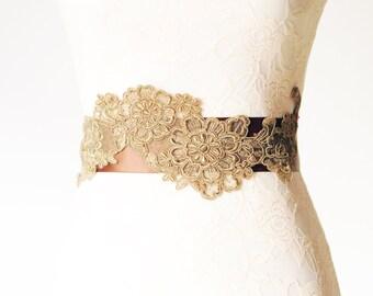 Gold Brown Embroidery Lace Flower Roses Ribbon Sash Belt - Wedding Dress Sashes Belts