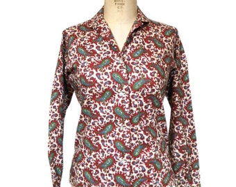vintage 1960s paisley blouse /  Gabey Original / button front blouse / cotton / peter pan collar / women's vintage blouse / size 12