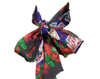 vintage OSCAR de la RENTA studio silk scarf / floral stamp / oblong / neck head scarf / women's vintage scarf
