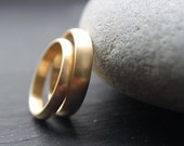 Wedding Ring Set: 18ct Yellow Gold Wedding Band Set, 3mm Womens Ring, 4mm Mens, D-shape, Brushed Finish, Custom Size