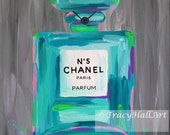 Chanel Art Painting PRINT Chanel No. 5 Perfume Bottle Aqua Gray Teal from original painting by Tracy Hall