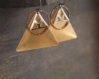 Geometric Triangle Earrings Hammered Earrings Mixed Metal Earrings Large Triangle Earrings Geometric Hoop Earrings Minimalist Earrings Metal