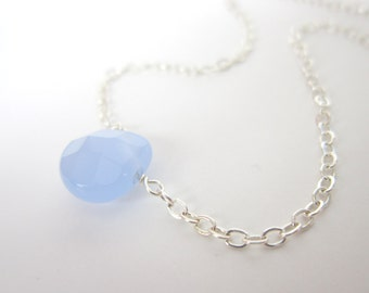Blue Teardrop Necklace, Faceted Glass Drop Sterling