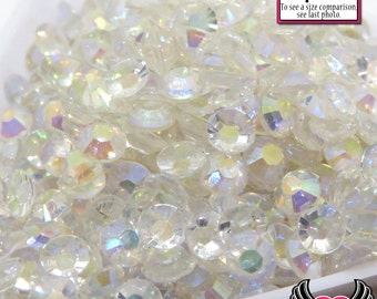 200 pcs 4mm AB CLEAR Transparent Decoden Faceted Flatback Rhinestones Cellphone Decoden DIY