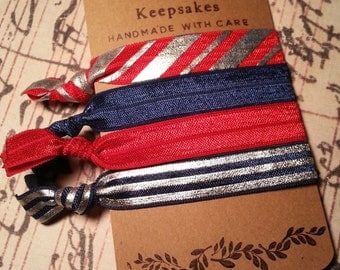 Red Navy and Silver Hair Ties/Solid Hair Ties/Holiday Hair Tie/No-Crease Hair Tie/4 Set Hair Tie/FOE Hair Ties/Ponytail Holder