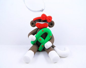Personalized Girl Sock Monkey Christmas Ornament Polymer Clay