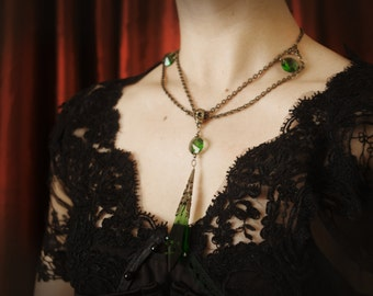 Absinthe green crystal necklace with skull and rose detail ~ Art Deco ~ Flapper ~ 1920s Wedding ~ Steampunk Couture