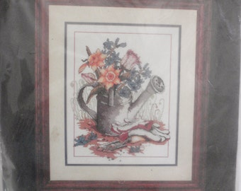VTG NIP Cross Stitch Kit Monarch Horizons 1988 The Watering Can CS68 by Janlynn
