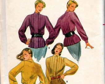 """1980s Women's Tucked Blouse Pattern - Size 8, Bust 31 1/2"""" - Butterick 6758 uncut"""