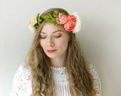 Peach Coral Ranunculus 'Adele' Flower Crown - Boho Chic Wedding Bridal - READY TO SHIP