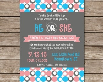 Gender Reveal Invitation He Or She Polka Dots Expecting Pregnant Party Gender Reveal Digital File Print Printable