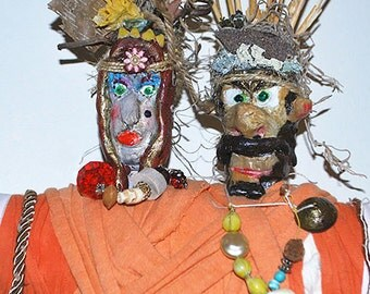 Queen TenderHearted and the Holy Man New Orleans Voodoo Doll Orange