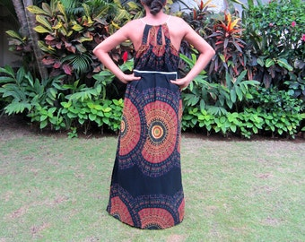 Maxi Dress, Women's long dress, black and orange dress, cut out dress, summer dress