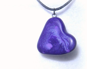Marbled Heart Necklace, Polymer Clay Jewelry, Purple Heart Pendant