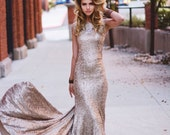 The Best Ever Glamorous Ivory Sequins Party Dress Evening/Bridal Wedding/Maid of Honor Gown.  Custom for you.