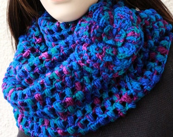 Crochet Scarf PATTERN-Infinity Scarf With Flower Pattern-Circle Scarf DIY Gift-Instant Download PDF Tutorial Pattern #109 by Lyubava Crochet