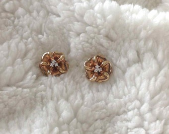 Floral Design Pierced Earrings with Clutch Back, Diamond Accents in 14 Karat Yellow Gold