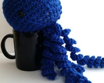 JUMBO JELLYFISH, Made to order Crochet toy stuffed Navy - toddler, baby, child, girls, boys, safety eyes, yarn, play, fun, birthday