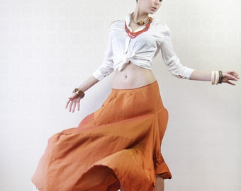 Orange raw silk asymmetric extravagant balloon maxi skirt
