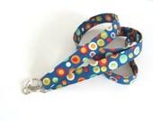 Key Lanyard Fabric Id Badge Holder Royal Blue Multicolor Dots Keychain Teacher Gift Lanyards